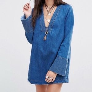 Free People Dreaming of Denim Accent Tunic Top